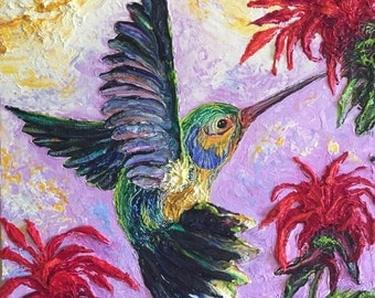 Hummingbird BeeBalm 12x12 Inch Original Impasto Oil Painting by Paris Wyatt Llanso