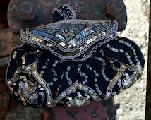 20s  Black Dancing Purse Also known as a Waltzing Purse 1920s Evening Purse with Gold Sequins and Gold Glass Beads Made in Belgium