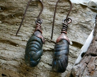 "Original Design Earrings, ""Textured Blue"" Polymer Drop Earrings, Organic , Bohemian, Agate, Copper"