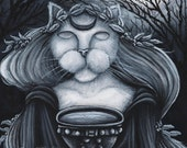 Druid Priestess Cat 8x10 Cat Art Print