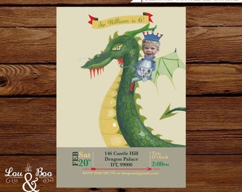 Dragon Custom birthday printable party invitation - Dragon and knight birthday invitation with your child's photo