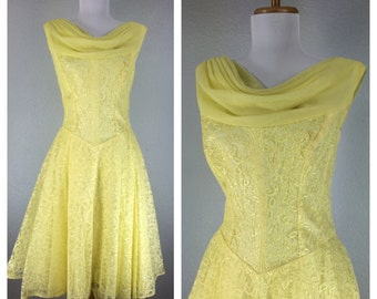 Vintage 1950s Yellow Lace Chiffon Dress Dance Cocktail Party Wedding