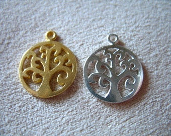 Tree Pendant Charm, Vermeil or Sterling Silver Family Swirly Tree of Life / 1-10 ps, 15.5x13 mm / woodland nature art tol133 solo