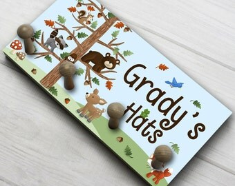 Forest Animal Woodland Friends HAT HOLDER - Personalized Hat Holder - Clothing Rack - Hat Organizer for Boys HH0002