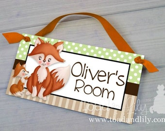 Fox Baby and Me Woodland Forest Critters Nature Forest Foxes Bedroom and Baby Nursery Kids Bedroom Door Sign Wall Art DS041
