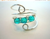 Mothers Day SALE Wire Wrapped Ring, Silver With Turquoise Glass Beads by Debbie Renee
