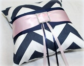 RING BEARER PILLOW, Navy and Light Pink Ring Pillow, Blush and Navy Ring Pillow, Navy Chevron, Blue and Pink Wedding, Light PInk, Custom