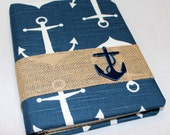 BABY Journal, Baby Memory Book, Milestone Book, Anchor Theme, Navy Blue Anchor, Burlap, Rustic, Nautical Baby Shower, Guest Book