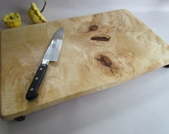 LARGE Raised Curly Natural ROCK MAPLE Cutting Board/Serving Board