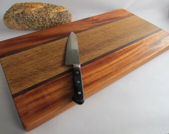 Deluxe THICK Beautiful RECLAIMED Mixed Hardwoods LARGE Cutting Board Mahogany, Black Walnut and White Oak
