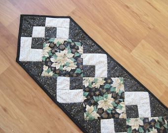 Quilted table runner Holiday Christmas poinsettia black white modern Quiltsy Handmade