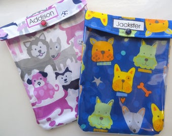 Personalized Ouch Pouch 2 Pack Diaper Bag Purse Organizer First Aid Meds Toiletries Kids Gifts Under 10 - Large 6x8 Your Choice Fabrics
