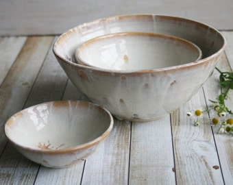 Rustic Nesting Bowls, Ceramic Set of Three White and Ocher Bowls, Handmade Pottery Ready to Ship Made in USA