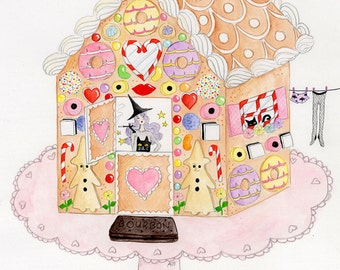 Gingerbread Cottage glittery greetings card