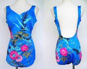 1970s Sirena Pin Up Swimsuit One Piece Bathing Suit Low Hip Blue Floral Bra Skirt Medium