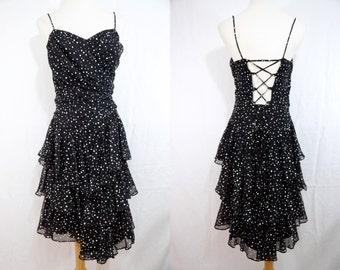 1980s Black White Polka Dot Dress Ruffle Poofy Skirt Corset Back Medium Large Party Dress