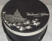 Spooktacular SALE Vintage 1950's Woodward & Lothrop Washington, D.C. Hat Box White House Capitol Monument