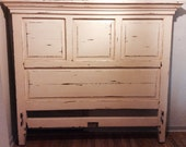 Vintage paneled headboard for King or queen bed distressed rustic shabby chic for local pick up only
