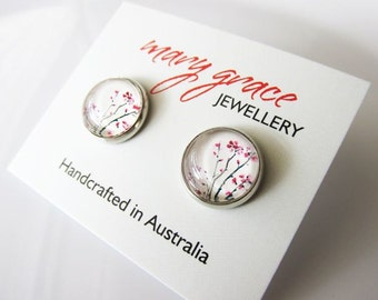 Pink Flowers Glass Dome Stud Post Earrings   Nature Inspired Small Earrings for Women   Gift for Teens and Young Girls