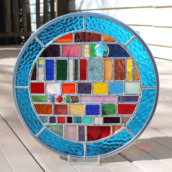 Multicolored Geometric Round Stained Glass Panel By