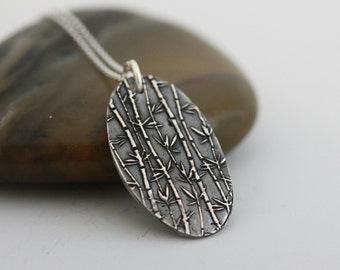 Silver Necklace, Silver bamboo pendant, oval silver pendant, handmade necklace, Gift for her(Meadow)
