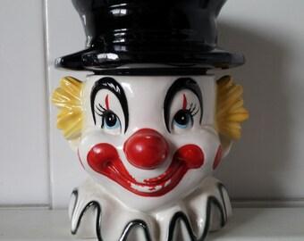 Vintage Clown Sugar Bowl Jar