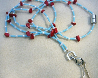 Handmade Badge Lanyard- Bright and Cheerful Red Coral & Turquoise Glass Bugle Beads by JewelryArtistry - L223