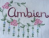 Ambien, Pillowcase, Hand embroidered, Boho, Bedroom, Quirky gift, Sleep, Insomnia