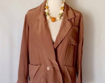 vintage Cocoa silk jacket with pockets
