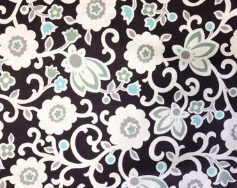 Tapestry Floral fabric, Denyse Schmidt, New Bedford yardage, sea color, black and blue, Free Spirit Fabric, choose cut, supply