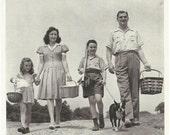 Vintage 1940s 1943 original magazine cut - American family & Boston Terrier