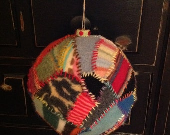 Huge Unique Handmade crazy quilt  Christmas Ornament Hand stitched Felted Wool patchwork velvet wool yarn FOLK ART