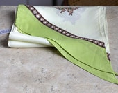 Vintage Long Cream Chartreuse & Brown Narrow Scarf, Neck Scarf, Hair Wrap Scarf, Vintage Fashion Scarf