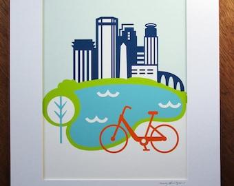 Minnneapolis Bike Art Print 11x14