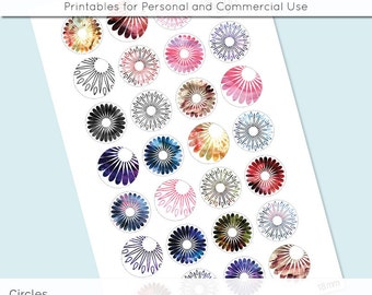 Flowers Watercolors Digital Collage Sheet 18mm 16mm 14mm 12mm Circle Round on 4x6 and 8.5x11 Sheet for Earrings Pendant Cuff Link Image