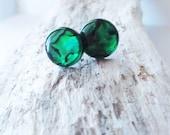 Green paua shell earrings.  Green paua earrings.  Stud post style earrings.  Large 13mm.  Green abalone earrings.  Paua shell jewelry.