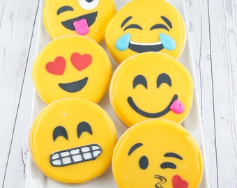 Emoji Cookies - 12 Decorated Sugar Cookie Favors