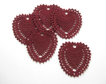 Crocheted Coasters Doilies Valentine's Day Glass Mats Drink Coasters Red Heart Decor Country Decor Cottage Decor Dining Table Decor
