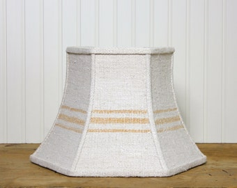 Uno Lamp Shade - Grain Sack Lamp Shade - Lampshade - Rustic - Caramel Stripe - Industrial - Lamp Shade - Grainsack Lamp Shade - Antique
