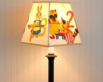 Children's Lamp Shade - Lampshade - Barkcloth Lampshade - Animals - Numerical - Nursery Lampshade - Mid Century - Vintage
