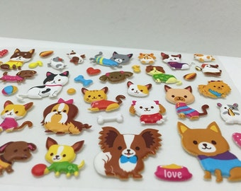 Cute Puffy Stickers - Adorable Kitty Cats and Dogs