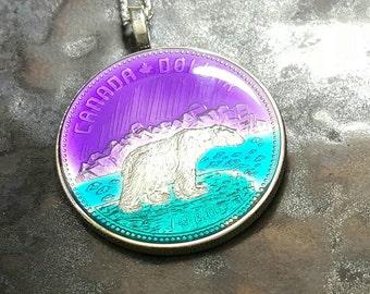 Canada - Polar Bear Coin Pendant - Hand Painted