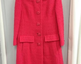 1960s Hot Pink 100% Wool Coat by DAVIDOW