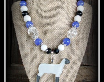 Glass Show Sheep, Lamb Pendant With Beaded Necklace