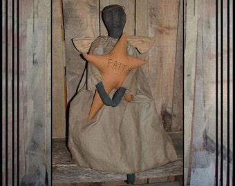 primitive folk art patch nose black Faith angel doll fabric wings rusted halo fabric star HAFAIR OFG faap haguild