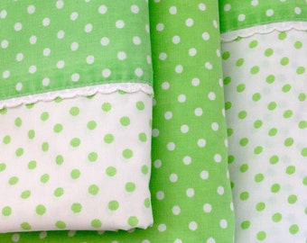 Vintage Sheets Twin Set Lime Green Polka Dots 3 Pieces Sears