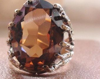 Retro Ring ROYAL Sim. CITRINE  Exquisite 14Kt  Gold HGE  Sterling Vermeil Size 6