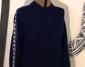 Vintage Wool Ski Sweater Snowflake  Navy Blue
