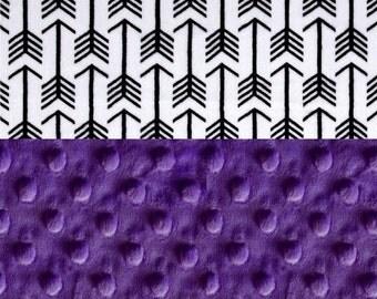 SALE Minky Baby Blanket Girl,  Personalized Baby Blanket - Black White Purple Arrow Blanket - Stroller Blanket - Nursery Decor Girl