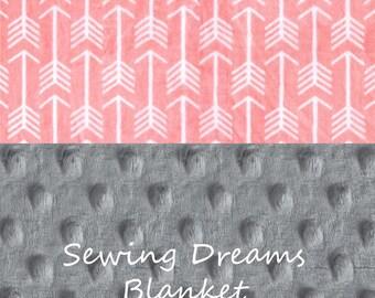 SALE Minky Baby Blanket Girl, Personalized Baby Blanket - Coral Gray Arrow Blanket  - Coral Silver Stroller Blanket  - Nursery Decor Girl